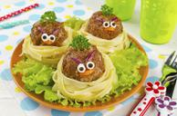 Angry Bird Pasta and Meatballs