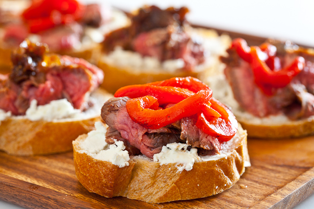 Flank Steak with Goat Cheese on Toast Recipe