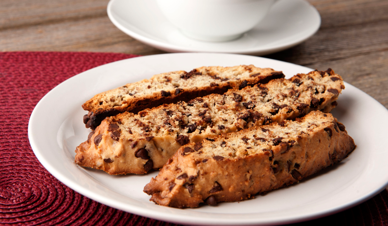 Chocolate Chip Cookie Biscotti with White Chocolate Dipping Sauce Recipe