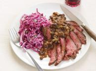 Flank Steak with Black Beans And Slaw Recipe