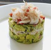 Avocado, tomato and snow crab crushed