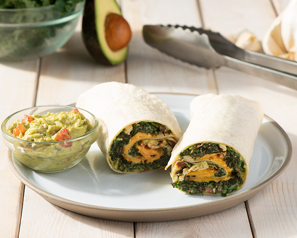 Grilled Kale, Chicken & Cheddar Rolled Quesadillas