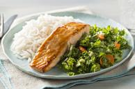 Sesame Salmon with Coconut Rice and Kale