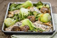 Roasted Sesame-Salmon Fillets with Bok Choy & Shiitakes