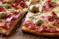 Pizza with Prosciutto, Green Olives and Rosemary