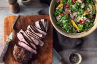 Tuscan Grilled Steak with Kale, Quinoa and Peppers