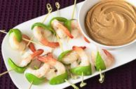 Shrimp and Snow Pea Bites with Peanut Sauce