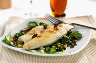 Bass Fillets with Spinach, Raisins and Pine Nuts