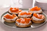 Mini Bagels with Smoked Salmon and Cream Cheese