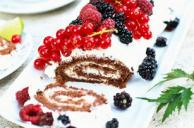Creamy Chocolate Roll with Berries