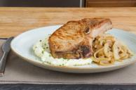 Pork Chops with Beer, Apples & Creamy Mashed Potatoes