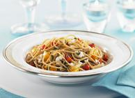 Whole Wheat Spaghetti with Apricots, Slivered Almonds & Cottage Cheese