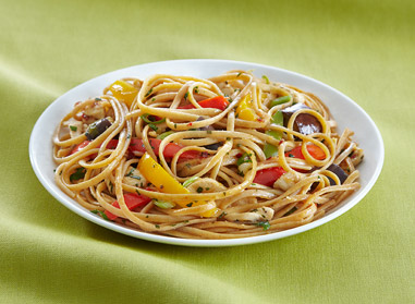 Linguine with Spicy Chicken & Asian Eggplant