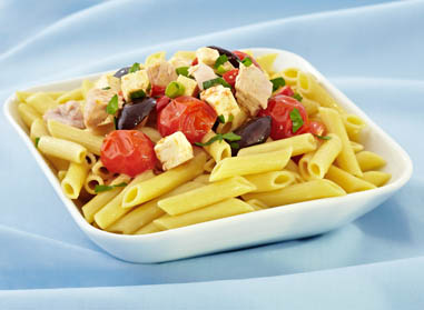 Penne Pasta with Tuna, Pimento, Olives, Tomato and Feta, Lemon Parsley Sauce By Chef John Higgins