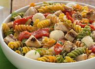Chicken and Red Pepper Caprese Pasta Salad
