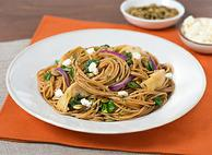 Spaghetti with Fall Greens and Pumpkin Seeds