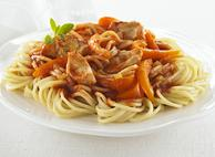 Spaghettini with Chicken, Onion and Green Pepper