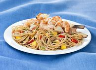 Spaghetti with Fresh Mango Salsa & Grilled Shrimp