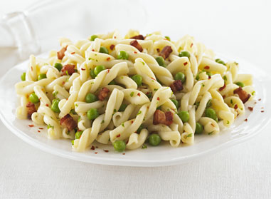 Gemelli with Pancetta, Peas and Chili Pepper