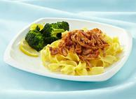 Sticky, Pulled Chicken on Broad Egg Noodles with Roasted Broccoli By Chef Jody O'Malley and Chef Kirstie Herbstreit