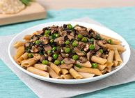 Penne with Mixed Mushroom and Pea Medley