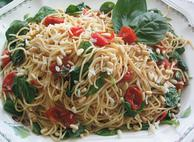 Roasted Cherry Tomato, Spinach and Asiago Pasta