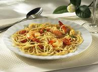 Spaghettini with Shrimp, Basil and Tomatoes