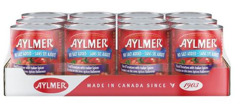 Aylmer Tomatoes Diced Italian No Salt Added - Case Pack