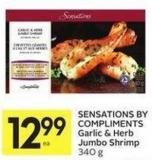 Sensations By Compliments Garlic & Herb Jumbo Shrimp 340 g