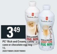 PC Rich And Creamy - Candy Cane Or Chocolate Egg Nog - 1 L