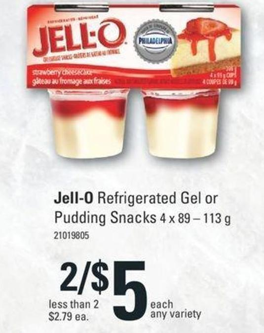 Jell-o Refrigerated Gel Or Pudding Snacks 4 X 89 – 113 G