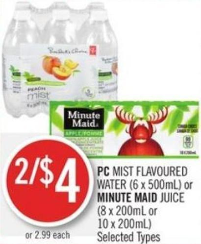 PC Mist Flavoured Water (6 X 500ml) or Minute Maid Juice (8 X 200ml or 10 X 200ml)