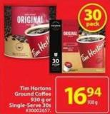 Tim Hortons Ground Coffee 930 g or Single-serve 30s