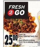 Fresh 2go Wiskey Pulled Beef Family Pack | Boeuf Effiloché Au Whiskey Fresh 2 Go En Emballage Familial