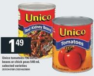 Unico Tomatoes 796 mL Or Beans Or Chick Peas 540 mL