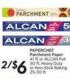 Paperchef Parchment Paper 41 Ft or Alcan Foil 50 Ft - Heavy Duty or Non-stick Baking 25-30 Ft