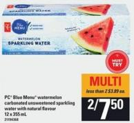 PC Blue Menu Watermelon Carbonated Unsweetened Sparkling Water With Natural Flavour - 12 X 355 Ml