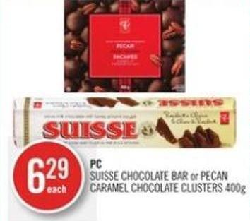 PC Suisse Chocolate Bar or Pecan Caramel Chocolate Clusters 400g