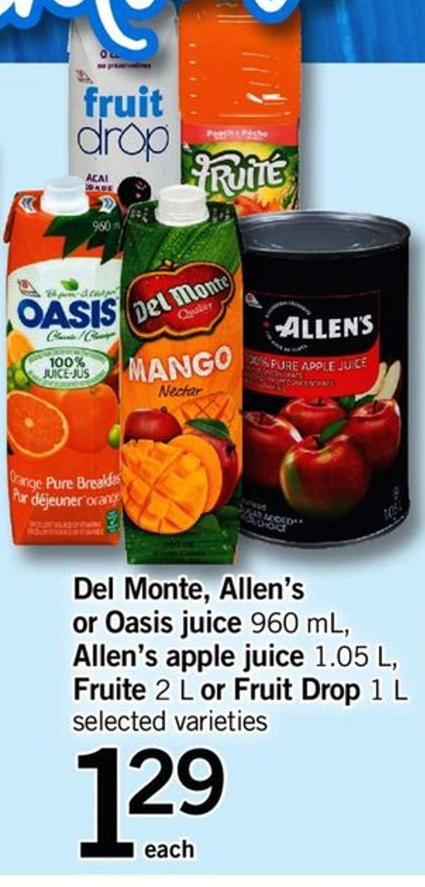 Del Monte - Allen's Or Oasis Juice - 960 Ml - Allen's Apple Juice - 1.05 L - Fruite - 2 L Or Fruit Drop - 1 L