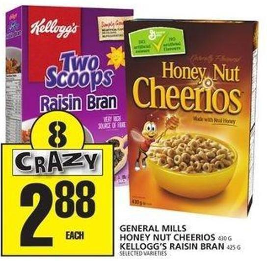 General Mills Honey Nut Cheerios Or Kellogg's Raisin Bran Or