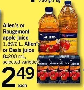 Allen's Or Rougemont Apple Juice 1.89/2 L - Allen's Or Oasis Juice 8x200 Ml