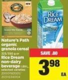 Nature's Path Organic Granola Cereal 325/350 G Or Rice Dream Non-dairy Beverage 1.89 L