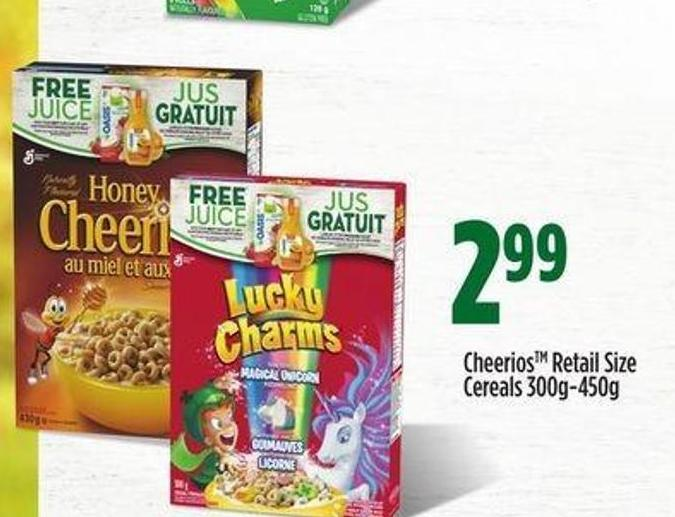Cheerios Retail Size Cereals - 300g-450g