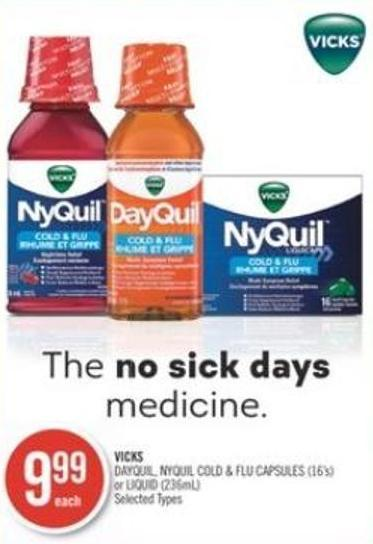 Vicks Dayquil - Nyquil Cold & Flu Capsules (16's) or Liquid (236ml)