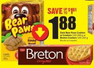 Dare Bear Paws Cookies or Crackers 150-240 g or Breton Crackers 120-225 g