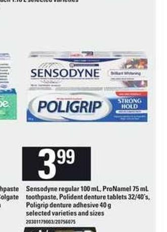 Sensodyne Regular - 100 ml - Pronamel - 75 ml Toothpaste - Polident Denture Tablets - 32/40's - Poligrip Denture Adhesive - 40 g