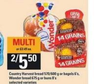 Country Harvest Bread 570/600 G Or Bagels 6's - Wonder Bread 675 G Or Buns 8's