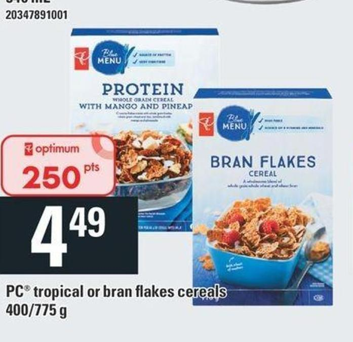 PC Tropical Or Bran Flakes Cereals - 400/775 g