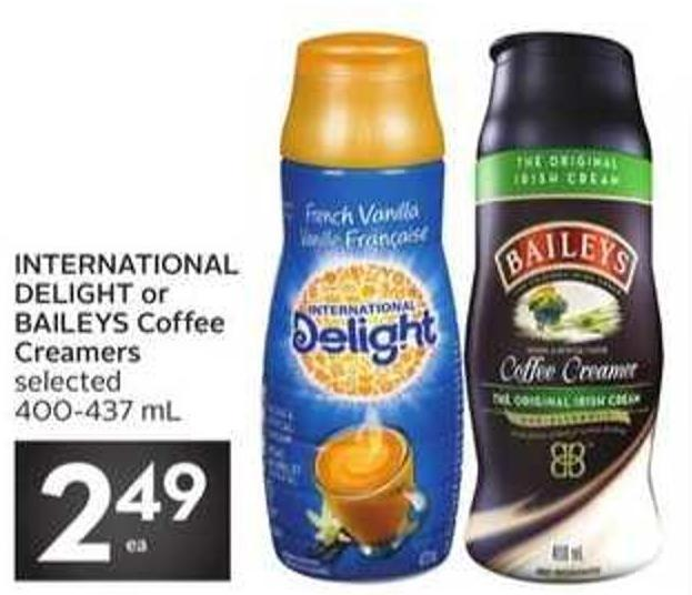 International Delight or Baileys Coffee Creamers