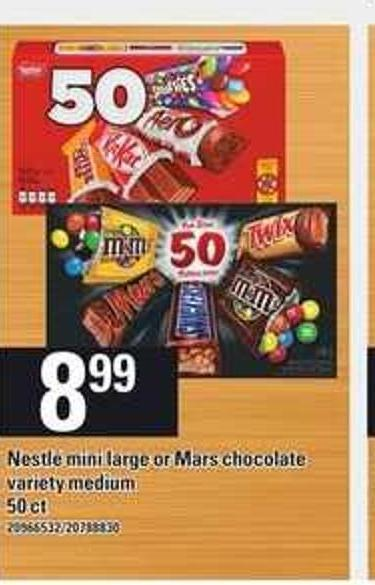 Nestlé Mini Large Or Mars Chocolate - 50 Ct